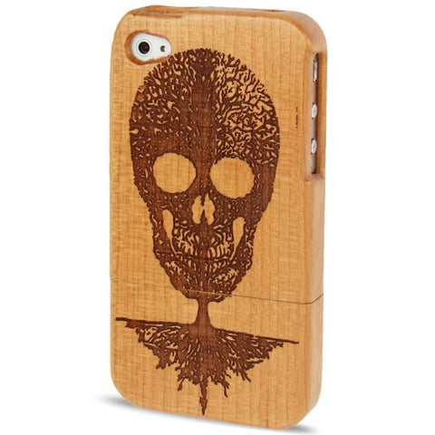 Woodcarving Skull Pattern Detachable Wood Material Case for iPhone 4 & 4S