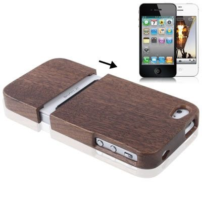 Walnut Wood Material Detachable Case for iPhone 4 & 4S