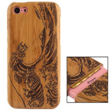 Woodcarving Wave Pattern Detachable Bamboo Material Case for iPhone 5C - Zasttra.com