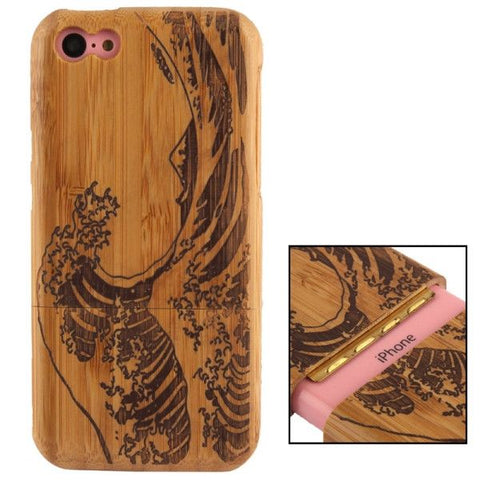 Woodcarving Wave Pattern Detachable Bamboo Material Case for iPhone 5C