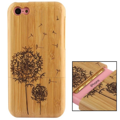 Woodcarving Taraxacum Pattern Detachable Bamboo Material Case for iPhone 5C