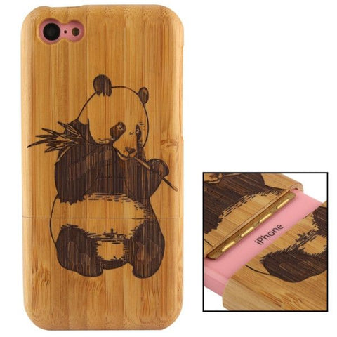 Woodcarving Panda Pattern Detachable Bamboo Material Case for iPhone 5C