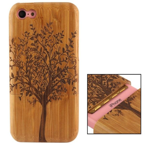 Woodcarving Tree Pattern Detachable Bamboo Material Case for iPhone 5C