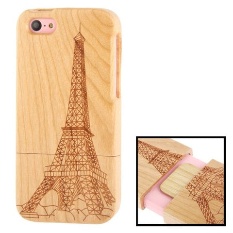 Woodcarving Eiffel Tower Pattern Detachable Cherry Wood Material Case for iPhone 5C