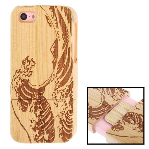 Woodcarving Wave Pattern Detachable Pinevood Material Case for iPhone 5C