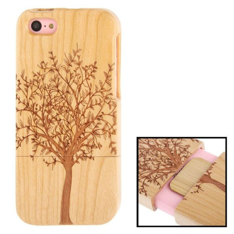 Woodcarving Tree Pattern Detachable Pinevood Material Case for iPhone 5C