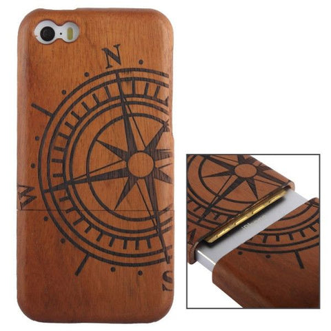 Woodcarving Ship Navigation Wheel Pattern Detachable Rosewood Material Case for iPhone 5C