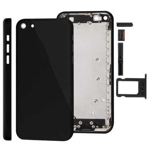Full Housing Replacement Chassis / Back Cover with Mounting Plate & Mute Button + Power Button + Volume Button + Nano SIM Card Tray for iPhone 5C(Black)