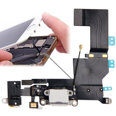 High Quality Version Tail Connector Charger Flex Cable + Headphone Audio Jack Ribbon Flex Cable for iPhone 5S(White)