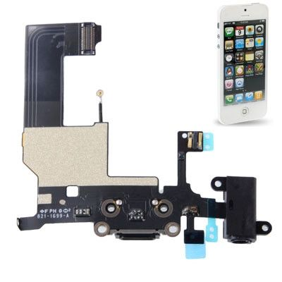 Dock Connector with Headphone Jack Flex Cable Repair Replacement for iPhone 5 (Black)
