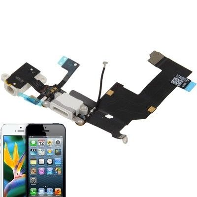 High Quality Version Tail Connector Charger Flex Cable + Headphone Audio Jack Ribbon Flex Cable for iPhone 5 (White)