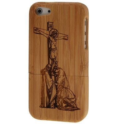 Jesus Pattern Detachable Wood Material Case for iPhone 5