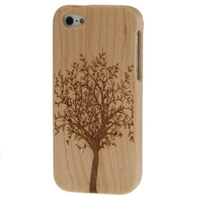 Tree Pattern Wood & Bamboo Material Detachable Wood Material Case for iPhone 5