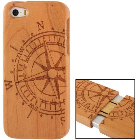 Navigation Plate Woodcarving Pattern Detachable Pine Wood Material Case for iPhone 5 & 5S