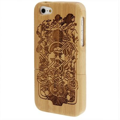 Minority Woodcarving Pattern Detachable Bamboo Material Case for iPhone 5 & 5S