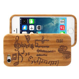 Woodcarving Notes Pattern Detachable Bamboo Material Case for iPhone 5 & 5S - Zasttra.com