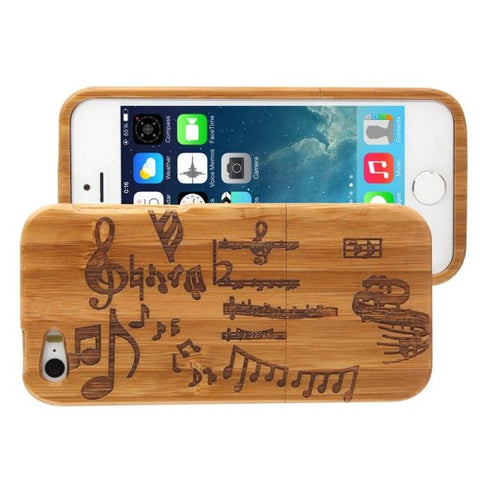 Woodcarving Notes Pattern Detachable Bamboo Material Case for iPhone 5 & 5S