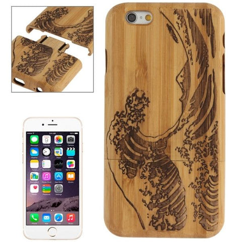Sea Wave Pattern Arc Border Separable Bamboo Wooden Case for iPhone 6 Plus & 6S Plus