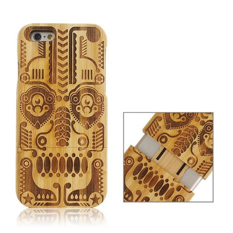 Tribal Totem Pattern Separable Bamboo Case for iPhone 6