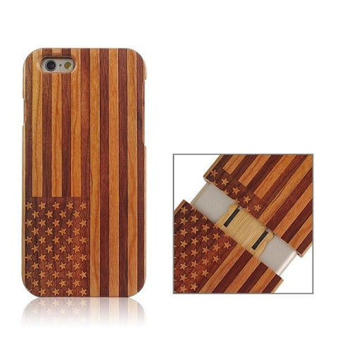 USA Flag Pattern Separable Wooden Case for iPhone 6