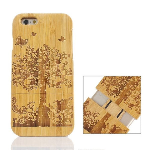 Garden Pattern Separable Bamboo Case for iPhone 6