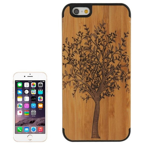 Tree Pattern Wood Paste Black PC Back Shell Case for iPhone 6 & 6S