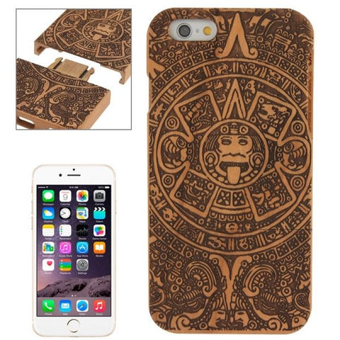 Maya Pattern Separable Cherry Wood Paste Plastic Case for iPhone 6 & 6S