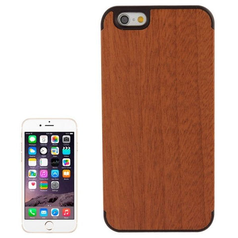 Arc Border Sapele Wood Paste Black PC Shell Case for iPhone 6 & 6S