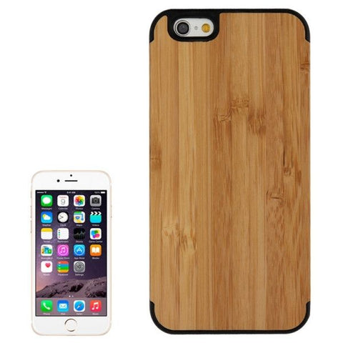 Arc Border Bamboo Wood Paste Black PC Shell Case for iPhone 6 & 6S