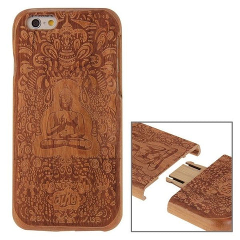 Buddha Pattern Separable Cherry Wooden Case for iPhone 6 & 6s