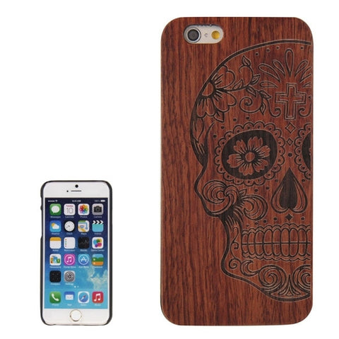 Skull Pattern PC Frame Rosewood Wooden Case for iPhone 6 & 6s