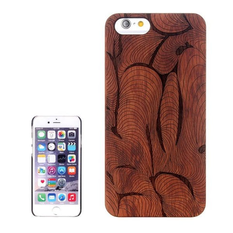 Abstract Carved Pattern & Rosewood Patch Protective Case for iPhone 6 & 6s