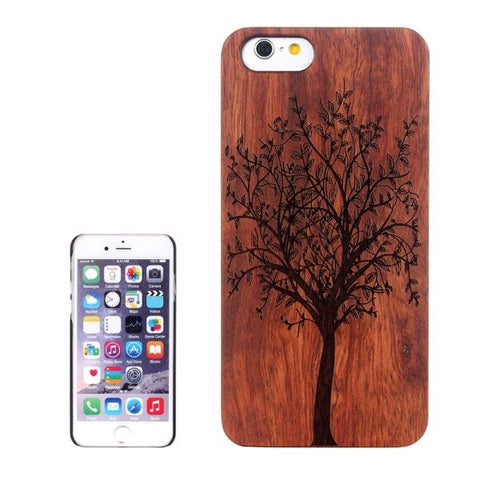 Tree Carved Pattern & Rosewood Patch Protective Case for iPhone 6 & 6s