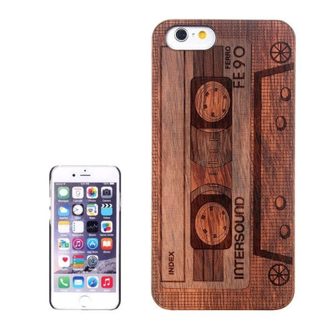 Casette Carved Pattern & Rosewood Patch Protective Case for iPhone 6 & 6s