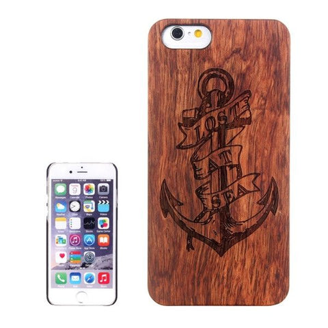 Anchor Carved Pattern & Rosewood Patch Protective Case for iPhone 6 & 6s