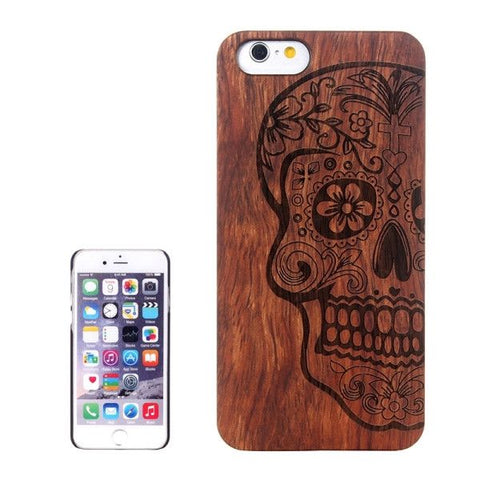 Skull Carved Pattern & Rosewood Patch Protective Case for iPhone 6 & 6s
