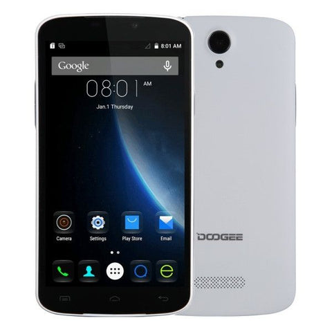 DOOGEE X6 8GB, Network: 3G, 5.5 inch Android 5.1 MT6580 Quad Core 1.3GHz, RAM:1GB(White)