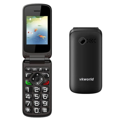 VKworld Z2 Big font Big key Clamshell Phone, Clamshell design, high volume, Dual SIM, FM, Torch(Black)