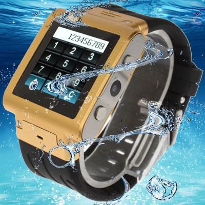 W838 Golden, Waterproof Wrist Watch Phone with HD Camera, Waterproof Grade: IP67