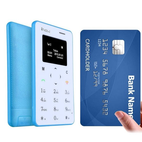 iNew Mini 1 Ultrathin Card Phone, Small Size, 0.96 inch Screen Single Micro SIM, Bluetooth(Blue)