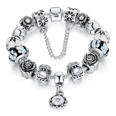 European Style 925 Silver Bracelet With Handmade Flower Charm Murano Bead