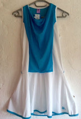 40Luv tennis dress Lagoon blue and white