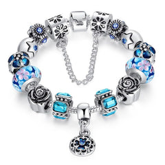 European Style 925 Silver Bracelet With Handmade Flower Charm Murano Bead - Blue