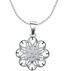 925 Sterling silver filled Ladies Flower design pendant with FREE chain included