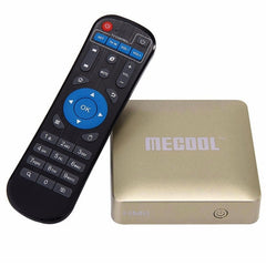 MECOOL HM8 4K UHD Smart TV Box with Remote Controller, Android 6.0 Amlogic S905X Quad Core Cortex-A53 up to 2.0GHz, RAM: 1GB, ROM: 8GB, OTA, Bluetooth, WiFi(Gold)