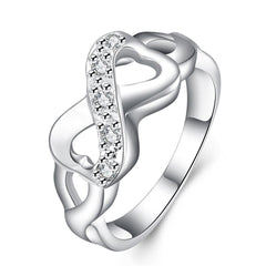 925 Sterling Silver filled Infinity style ring adorned with genuine AAA crystals