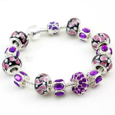 European Style 925 Silver Charm Bracelet with Purple Murano Glass Beads
