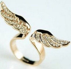 Angel Wing Ring, 17mm size, Exquisite Rhinestone