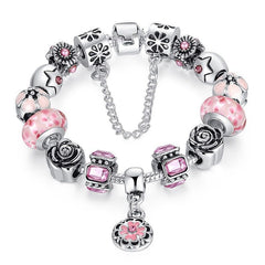 European Style 925 Silver Bracelet With Handmade Flower Charm Murano Bead - Pink