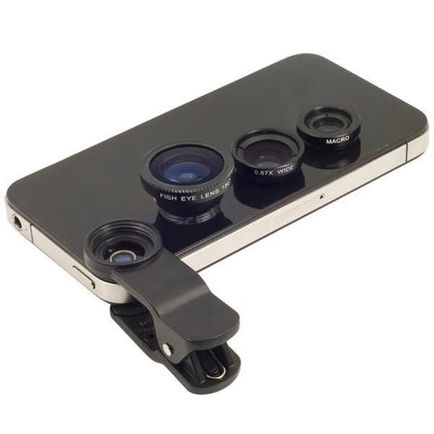 Cellphone Camera Lens Kit Set - Universal 3 in 1 - Black